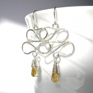 Citrine Earrings, Sterling Silver, Wire Wrapped, Zig Zag, Swirl Wire, Hammered Silver, Handmade, Golden Citrine, Gemstone Jewelry, 904