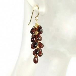 Garnet Earrings, Birthstone Earrings, Gemstone Earrings, Healing Earrings, Cluster Earrings, Bridal Earrings, Bridesmaid Earrings