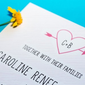 Modern Wedding Invitation and RSVP Postcard- Custom Design- Printable or Printed- Heart, Simple, Scribble, Pink