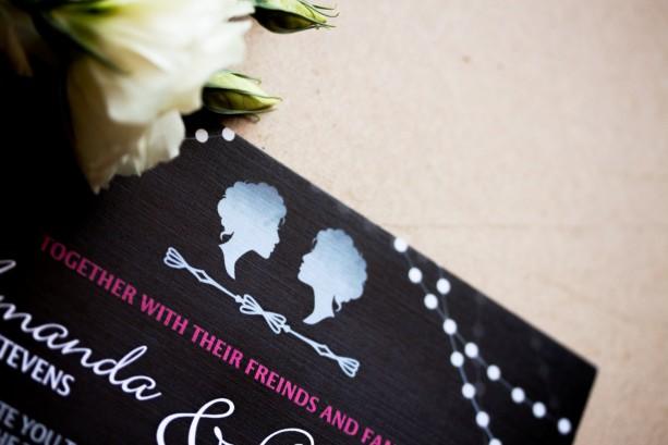 Same Sex Wedding Invitation and RSVP Postcard - Custom Design - Printable or Printed - Chalkboard - Cameo - Lights - Men - Women - Classic