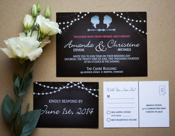 Gay Wedding Invitations: Same Sex Wedding Invitation And RSVP Postcard