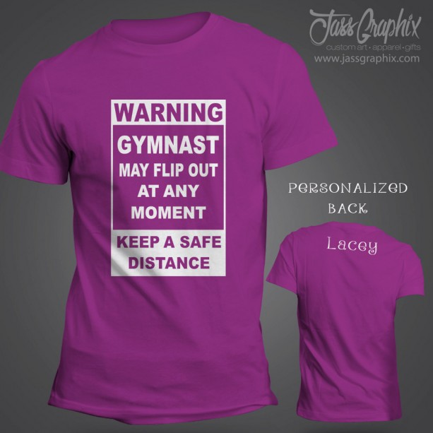 Gymnastic tee shirt. Personalized shirt for the tumbler and dancer. Features front and back custom lettering for any gymnastic fan.
