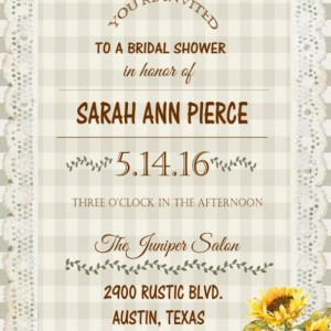 Rustic Sunflower Bridal Shower Invitations - Engagement Party Invitation- Country Sunflowers