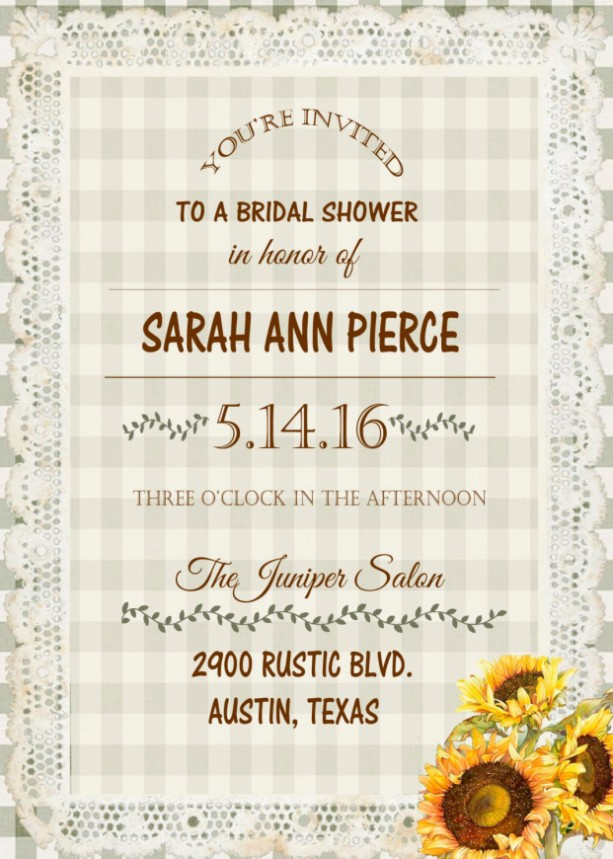 Rustic Sunflower Bridal Shower Invitations Engagement Party Inv