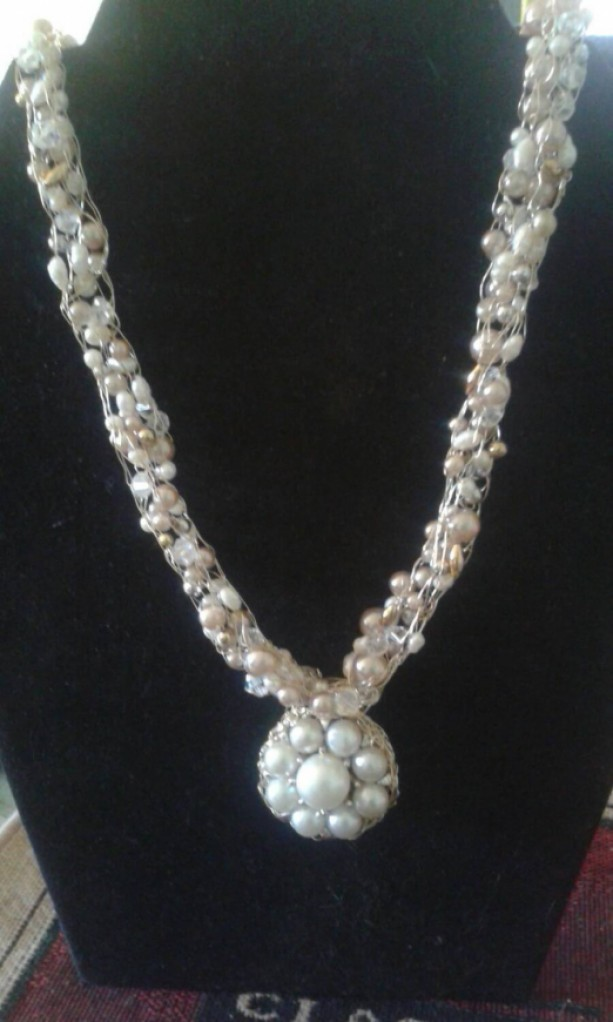 Victorian Pearl Delight Beaded Knitted Crocheted Necklace