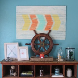 Rustic distressed arrow chevron wall art