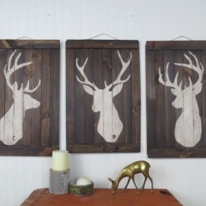 Rustic deer/stag wall art set of three or individual