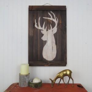 Rustic deer/stag wall art set of three or individual