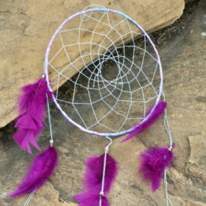 Big Dream Catcher, Purple Feathers, Large 9 inch, Native America Style, Large Dreamcatcher, Tribal Wall Decor, Wall Hanging, Apache Indian