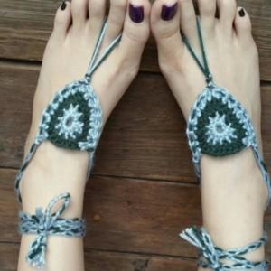 Crocheted Sandals - Barefoot Sandals - Yoga Shoes - Handmade Sandals - Yoga Sandals -  Hippie Sandals - Yoga Wear - Tide