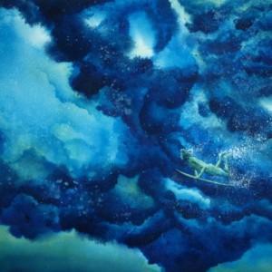 Surf Art Print, Water Artwork, Surf Painting, Tropical Art, Beach Art, Summer, Diver, Surfing, Hawaii, Surfer, Surfboard, Surf Board, Ocean