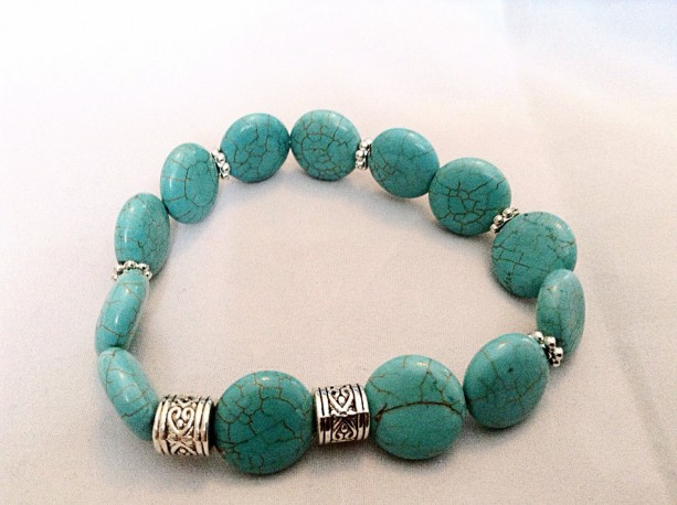 Turquoise and silver bracelet. Turquoise stretch bracelet