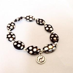Polka dot black and silver bracelet