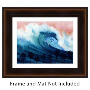 Surfer Art Print, Ocean Wave Art, Palm Tree Art, Tropical Art Print, Water Art, Beach Art Print, Surfing, Hawaii, Surfboard, Exotic Art