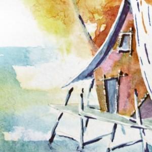 Beach Art Print, Surf Art, Gratitude, Motivational Quotes, Tiki Hut Art, Sunset Art, Tropical Painting, Surfing, Hawaii Art