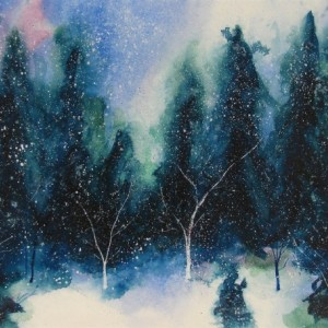 Solstice Art, Winter Art, Snow Art, Pine Tree Art, Christmas Art, Holiday Art, Original Painting, Mountains, Cold, Exotic Art