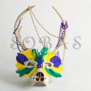 "Mardi Gras Deer Skull 5"" x 7"" Card Set of 2"
