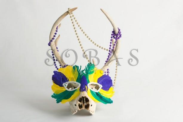 "Mardi Gras Deer Skull 5"" x 7"" Card Set of 2"