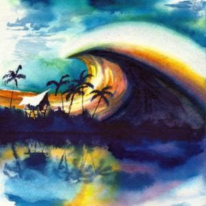 FREE SHIPPING Surf Art, Tiki Hut Art, Tiki Art, Beach Art Print, Tropical Art Print, Hawaii Art, Surfboard, Surfboard Wall Art, Waves, Ocean Waves, Storm