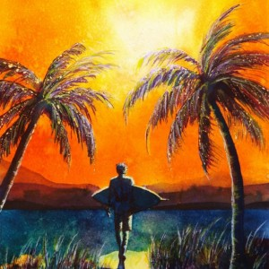 Beach Painting, Surfer Decor, Surf Art Print, Tropical Art, Beach Art Print, Palms, Sunset, Sunset, Hawaii Art, Surfer, Surfboard, Ocean Art