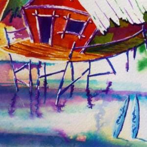 Tropical Art Print, Tiki Art Print, Sunset Artwork, Surfboards, Polynesian Painting, Island Art, Beach Art Print, Surfing, Hawaii Artwork