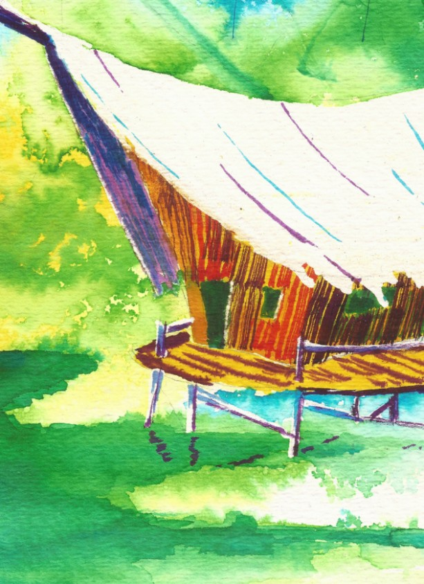 Free Shipping Tiki Hut Art Tropical Painting Aftcra