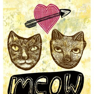 Meow - Cat Heart art Mini Print