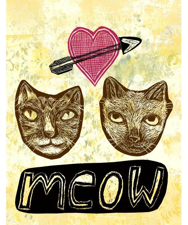 Meow - Cat Heart art Mini Print