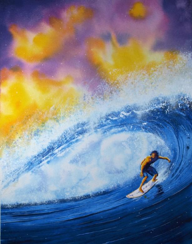 Surf Art, Surfer Art Print, Beach Art, Ocean Wave Art, Water Art, Tropical Art, Surfing, Hawaii Art, Surfboard Art, Surf board, Sunset Art