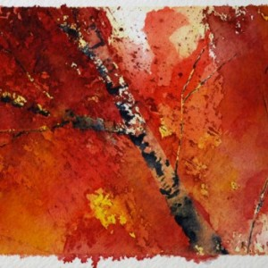 Autumn Art, Fall Art, Tree Art, Birch Tree Art, Original Painting, Leaves, Unique Art, Exotic Art