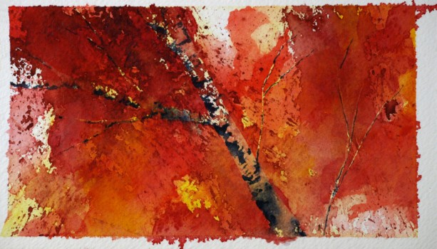 Autumn Art, Fall Art, Tree Art, Birch Tree Art, Original Painting, Leaves, Unique Art, Exotic Art