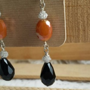 Coral and black faceted crystal earrings