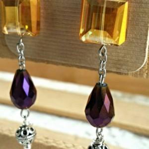 Yellow Gold crystal earrings, beaded dangles, purple crystal earrings
