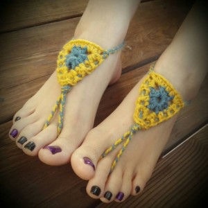 Crocheted Sandals - Barefoot Sandals - Yoga Shoes - Handmade Sandals - Yoga Sandals -  Hippie Sandals - Yoga Wear - Touch of Sun