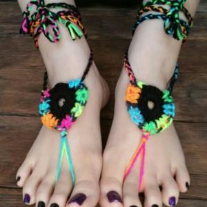 Crocheted Sandals - Barefoot Sandals - Yoga Shoes - Handmade Sandals - Yoga Sandals -  Hippie Sandals - Yoga Wear - PLUR