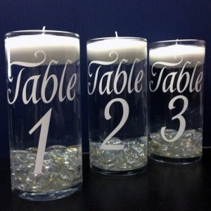 Set of 12 Wedding  Candle Holder Table Number Vase Choose Color of Vinyl Graphic