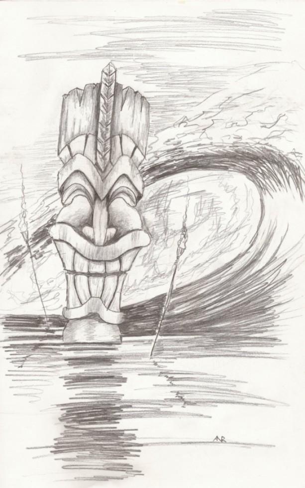Tiki Art, Tiki Statue, Tiki Torch, Surf Art, Beach Art Print, Tropical Art Print, Pencil, Surfing, Hawaii Art Print, Surfer, Island Art