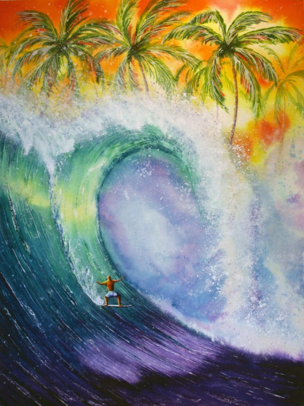 Surf Art, Wave Art, Surfboard, Beach Artwork, Tropical Art, Tropical Print, Beach Art, Beach Art Print, Surfing, Hawaii, Surfer, Exotic Art