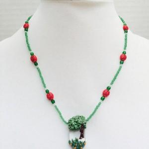 Spring lampwork tree pendant necklace, landscape jewelry, tree scene pendant, ladybug necklace, handmade gift, nature pendant