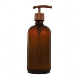 Amber Apothecary Glass Soap Dispenser with Antique Copper Pump, 16 oz Lotion Dispenser, Modern Pump, Brown Medicine Bottle BB30716AM