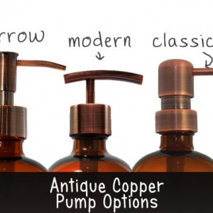 Amber Apothecary Glass Soap Dispenser with Antique Copper Pump, 16 oz Lotion Dispenser, Modern Pump, Brown Medicine Bottle BB30716AM
