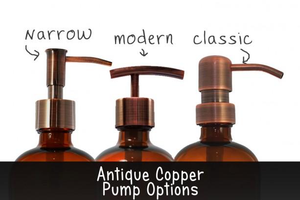 modern amber apothecary glass soap dispenser with antique copper pump 16 oz lotion dispenser - Soap Dispenser Pumps