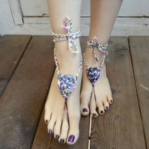 Crocheted Sandals - Barefoot Sandals - Yoga Shoes - Handmade Sandals - Yoga Sandals -  Hippie Sandals - Yoga Wear - Royals
