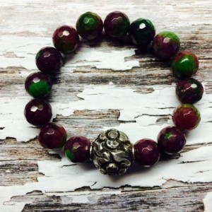 AAA Grade gorgeous Luxurious faceted ruby zoisite hills tribe silver statement bracelet, bohemian boho designer jewellery