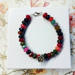 AAA Grade Fiesta rainbow agate and Karen Hill Tribe Silver statement bracelet, bright, colorful, bohemian, boho, floral girly