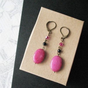 Pink Earrings Magenta Jade Stone Chandelier Earrings Jewelry For Women