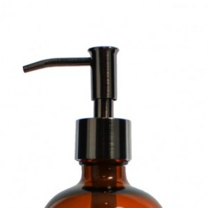 Amber Apothecary Glass Soap Dispenser with Black Copper Pump, 16 oz Lotion Dispenser, Narrow Pump, Brown Medicine Bottle BB70716AN
