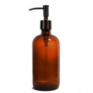 Amber Apothecary Glass Soap Dispenser with Black Copper Pump, 16 oz Lotion Dispenser, Narrow Pump, Brown Medicine Bottle BB70716AN