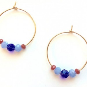 Sterling silver or 14 karat gold filled hoops with tiny Czech glass beads Swarovski crystals in red blue, trendy, shabby chic, girly pretty