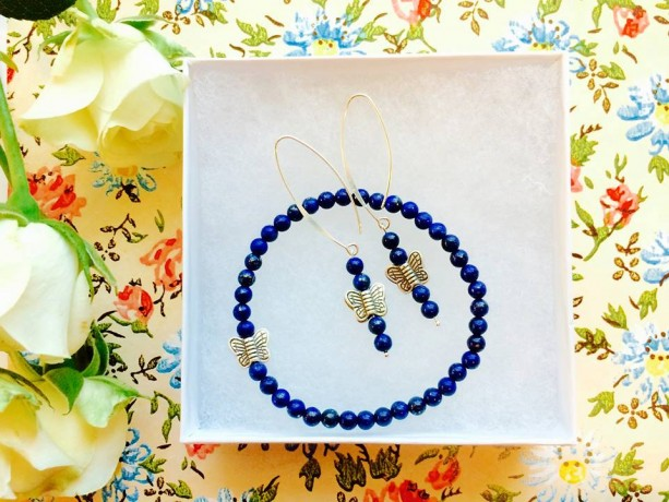 AAA Grade  Lapis Lazuli Hills Tribe pure silver bracelet earring set, deep heavenly, butterflies, dangle, sterling posh